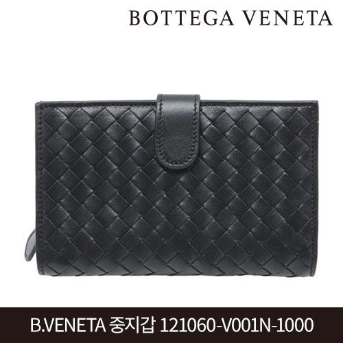 [타임세일~09/21까지]  B.VENETA 보테가베네타 인트레치아노 중지갑 121060-V001N-1000 BLACK