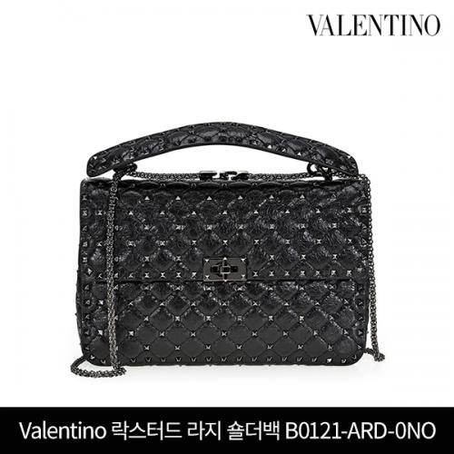 VALENTINO 발렌티노 락스터드 스파이크 라지 숄더백 B0121-ARD-0NO BLACK
