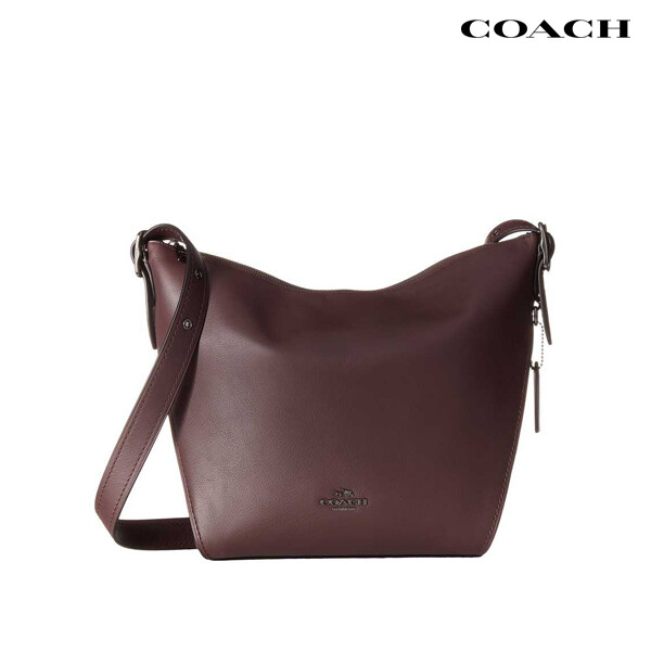 Coach 코치 Natural Leather Small Dufflette 크로스백 (Burgundy, 지퍼없음)