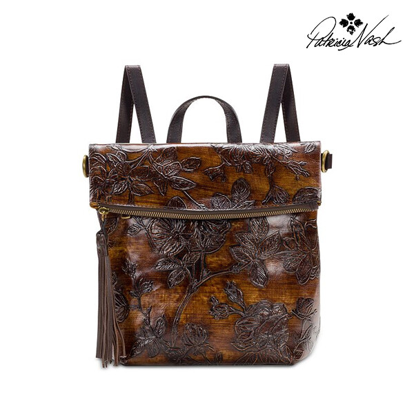 Patricia Nash 패트리샤내쉬 Bark Leaves Luzille Embossed Leather Backpack 백팩
