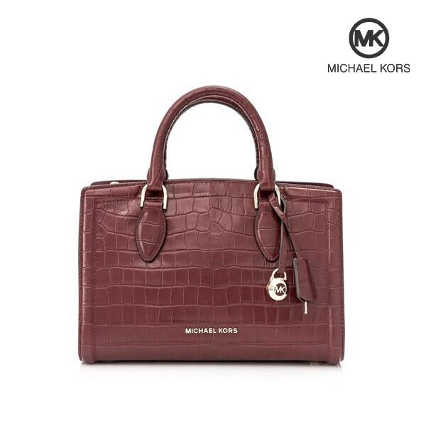 Michael Kors 마이클 코어스 Croc Embossed Leather Zoe Medium Satchel Handbag 토트백 (Brandy)