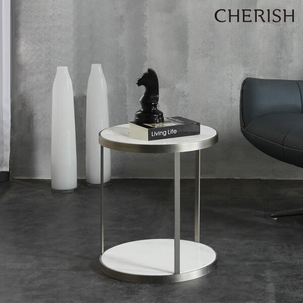 체리쉬 디에고 대리석 원형 사이드테이블