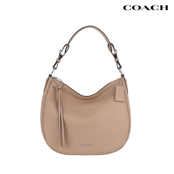 COACH 코치 Polished Pebble Leather Sutton Hobo 숄더백 (Dark Beige)