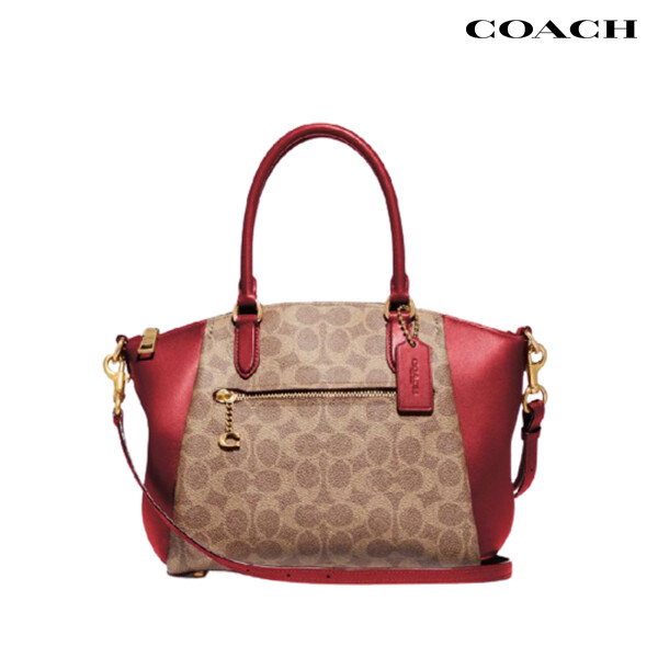 COACH 코치 Coated Canvas Signature Elise Satchel Red 토트백