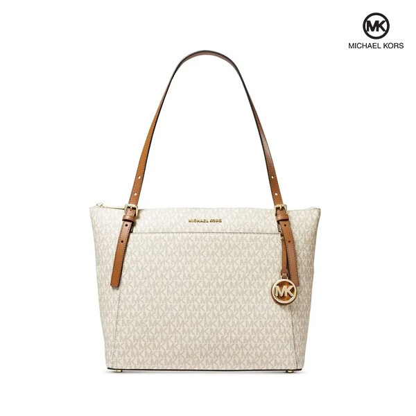 Michael Kors 마이클 코어스 Voyager Large East West Top Leather Zip Tote 토트백 (Vanilla+Acorn+Gold)