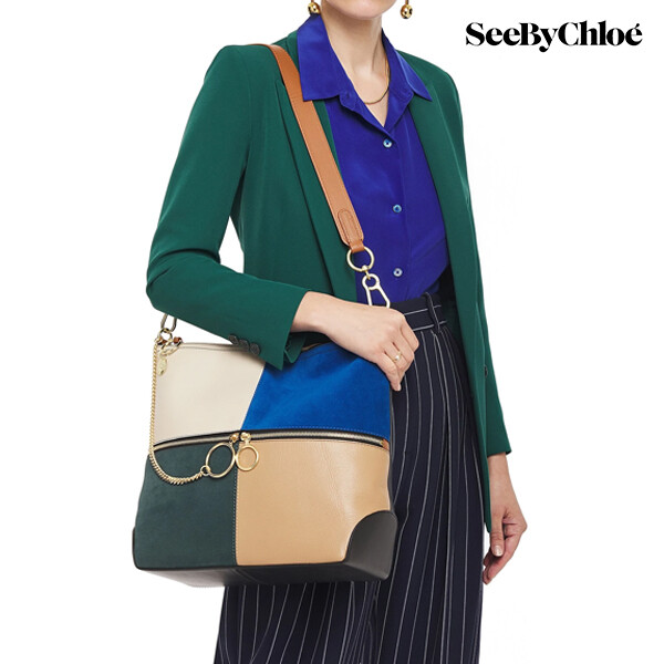 See By Chole 씨바이끌로에 Emy Color-block Leather and Suede Shoulder Bag 숄더백 (Cobalt Blue)