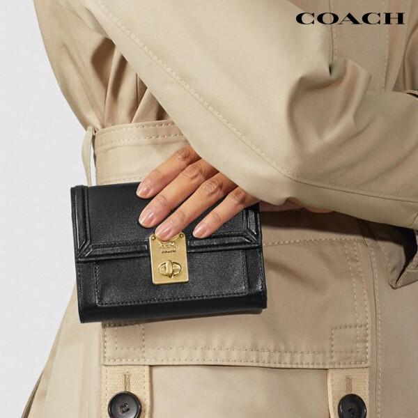 [타임세일~09/21까지]  COACH 코치 Smooth Leather Hutton 지갑