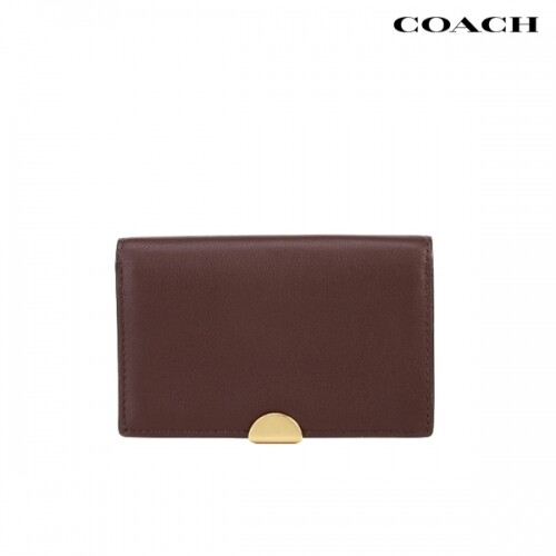 COACH 코치 Dreamer Leather Card Case Oxblood Gold 카드지갑