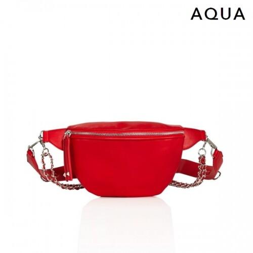 [블랙딜~11/30까지]  AQUA 아쿠아 Alex Nylon Chain Belt Bag Red 파우치백