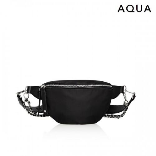 [타임세일~09/21까지]  AQUA 아쿠아 Alex Nylon Chain Belt Bag Black 파우치백