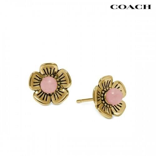 [타임세일~09/21까지]  Coach 코치 Tea Rose Pink Petal Earrings 귀걸이