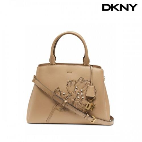 DKNY 디케이엔와이 Paige Floral Leather Satchel Leather Latte Biege Gold 토트백 (스트랩없음)