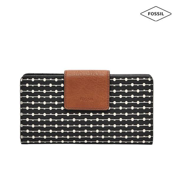 [타임세일~09/21까지]  FOSSIL 파슬 Emma RFID Striped Tab Clutch Wallet 지갑