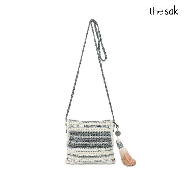 [블랙딜~11/30까지]  thesak 더삭 Costa Mesa Mini Flap Crossbody Bag Snow Metallic Stripe Crochet1 숄더백