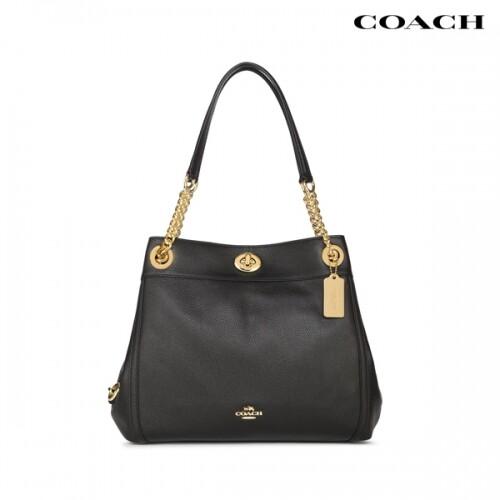 COACH 코치 Turnlock Edie Black Shoulder Bag 숄더백