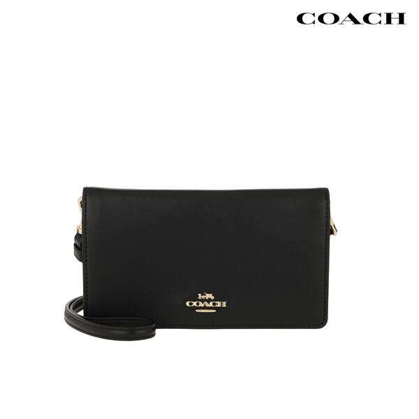 Coach 코치 Smooth Leather Slim Phone Crossbody Bag Black 크로스백