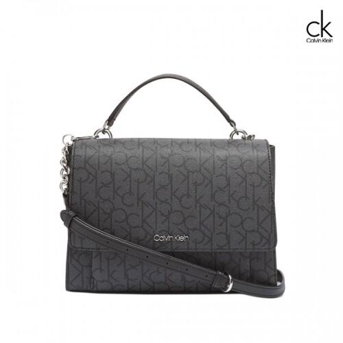 [타임세일~09/19까지]  Calvin Klein 캘빈 클라인 Signature Hudson Flap Satchel 토트백 (Grey)