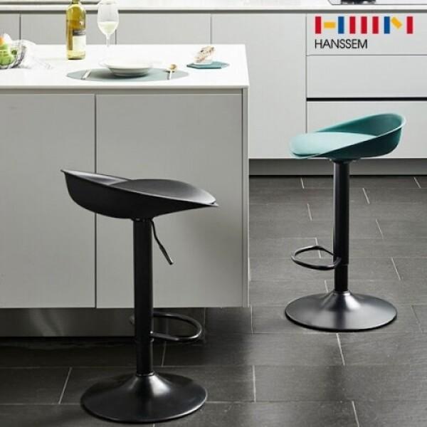 북유럽 디자인 한샘 모도 쿠션 유압식 바체어 (의자색상: 블랙)