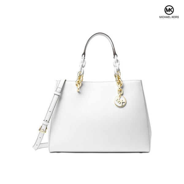 MICHAEL KORS 마이클코어스 Cynthia Medium Saffiano Optic White Leather Satchel 토트백