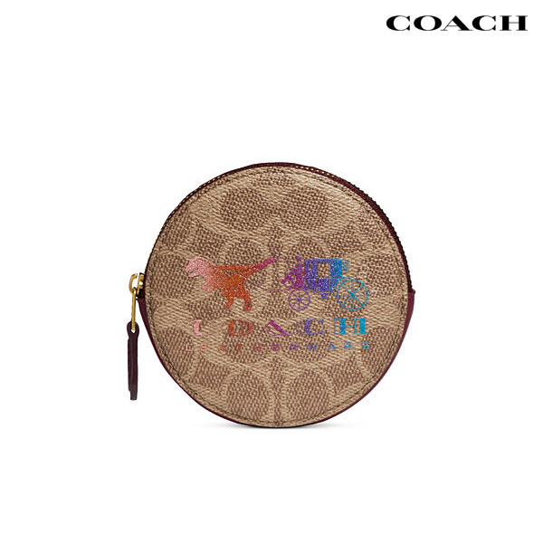 COACH 코치 Round Coin Case In Signature Canvas With Rexy And Carriage 코인지갑