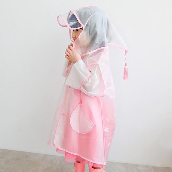 로로샤 아동용 핑크 반투명 레인코트 (사이즈 M / 5-6세)