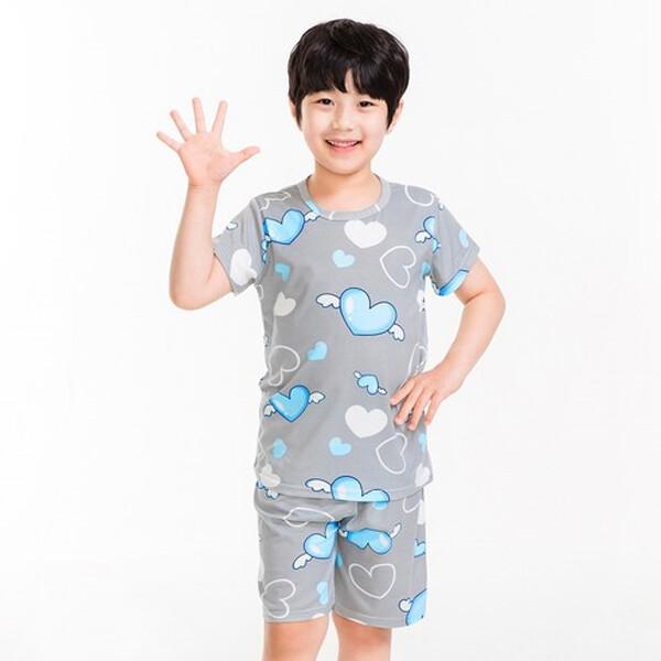 이라인 남아용 하트엔젤 반팔 상하 이지웨어 잠옷 세트  (사이즈 : 85 / 블루패턴 )
