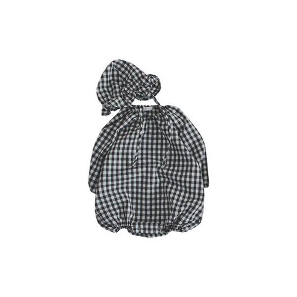 베베나인 예쁜아기옷 베이비슈트 우주복 체크모자 세트 바디슈트 브라운 (색상 : 브라운 / 사이즈 : S)