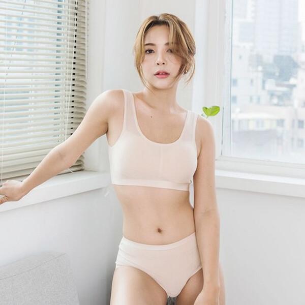 도씨 자연인견 브라탑 노라인 팬티 세트