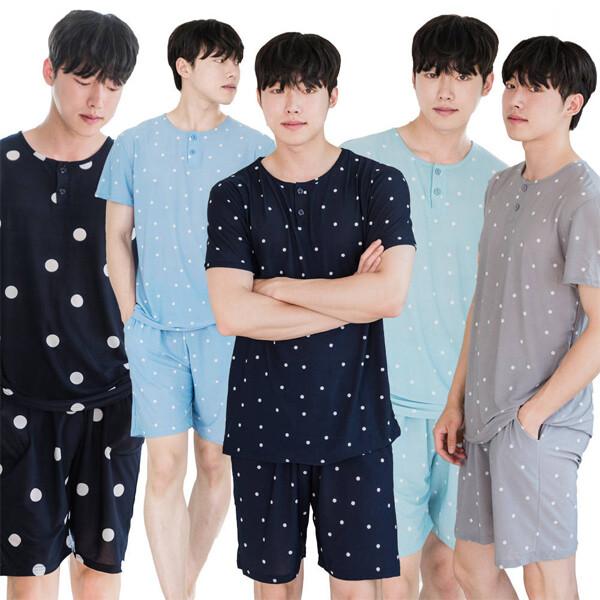 DOSSY 남성 여름 마/냉장고 도트 반팔 상하세트 마약잠옷 (색상 : 민트 / 사이즈 : Free)