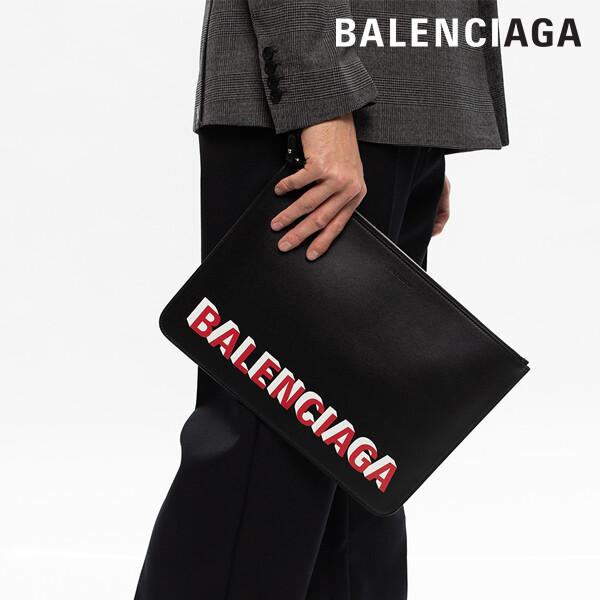 BALENCIAGA 발렌시아가 발렌시아가 레드로고 민자 클러치(630626 1I373/1065)