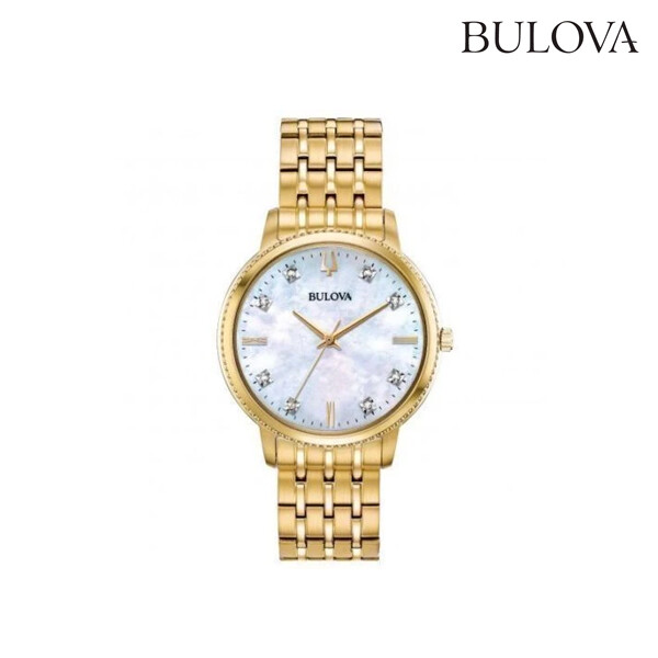 Bulova 볼로바 97P134 Diamond Accented Gold-Tone Stainless Steel Watch 시계