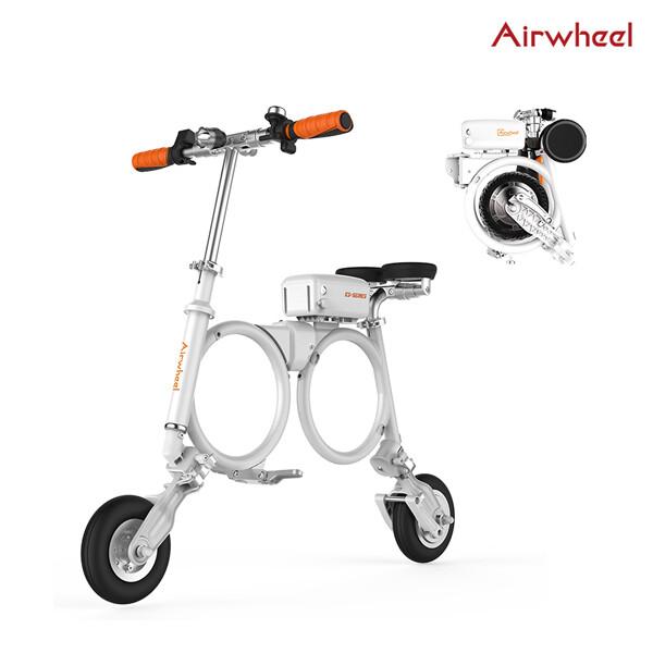 에어휠 초소형 접이식 전기 자전거 Airwheel E3 블랙&화이트(8인치타이어/주행거리 25~30Km/무게 12.5kg)_리씽크팀