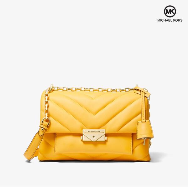 Michael Kors 마이클 코어스 Cece Chevron-Quilted Leather S SunflowerGold 크로스백