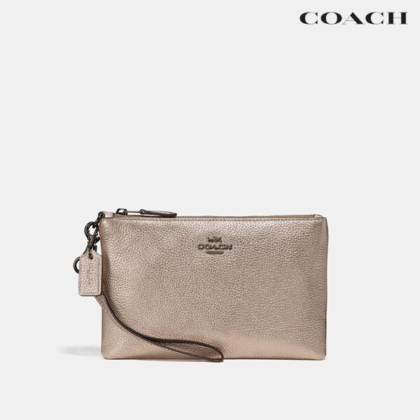 COACH 코치 Small Wristlet Platinum Silver 파우치