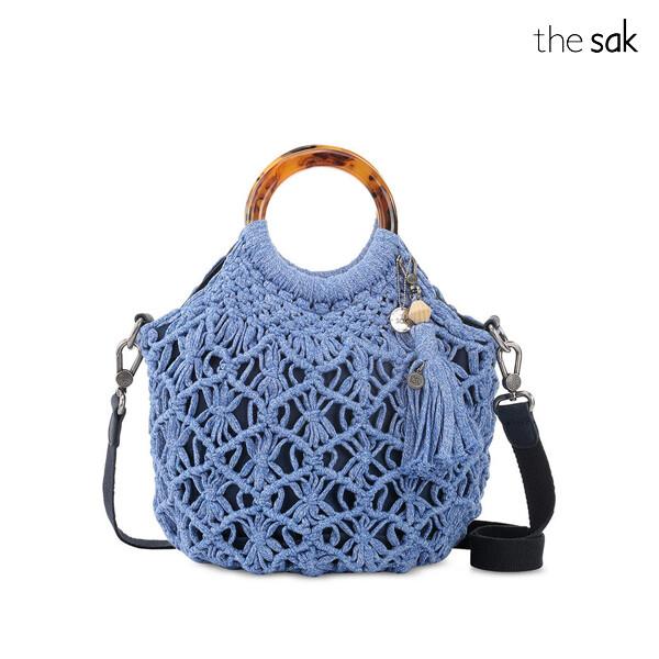 The Sak 더삭 Helena Crochet Bracelet Handle Blue BellSilver 크로스백