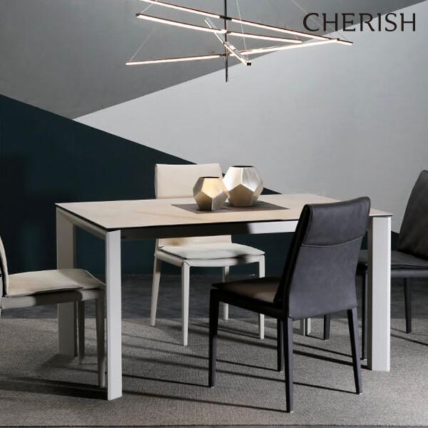 체리쉬 세라토2 스탠다드 세라믹 식탁 확장형 라이트그레이(4~8인용 확장형 식탁)
