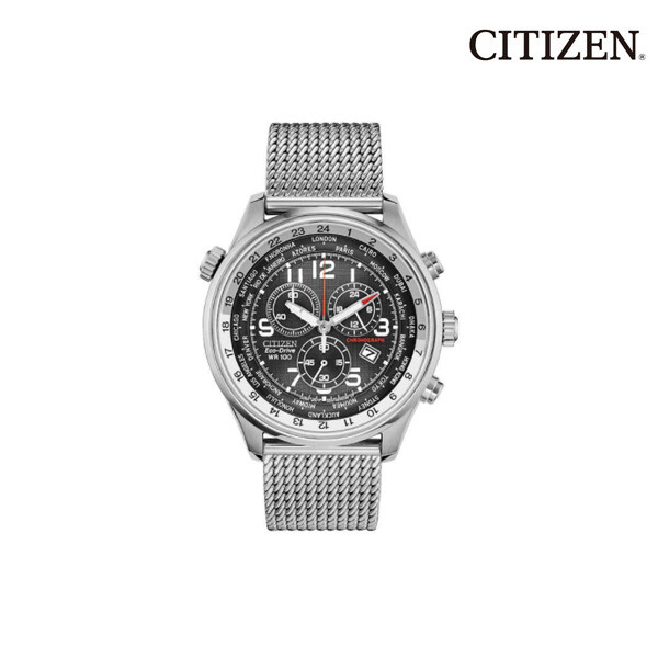 CITIZEN 시티즌 Eco-Drive Chronograph Silver-Tone Stainless Steel Men's Watch, Black AT0361-81E 남성시계