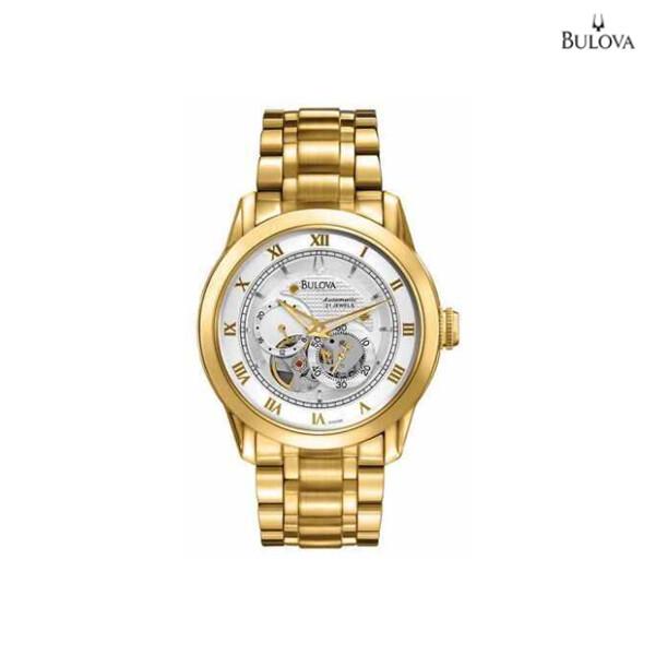 BULOVA 블로우바 Skeleton Dial Automatic 21 Jewels Tone Mens Watch 97A108 남성시계