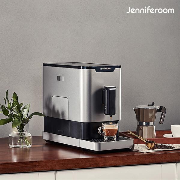 단순박스개봉 상품! 제니퍼룸 컴팩트 전자동 에스프레소 커피머신 JR-EM0212S 실버