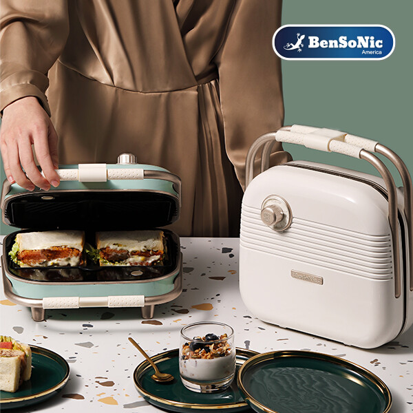 선착순 50명 와플팬증정! 벤소닉 레트로 휴대용 샌드위치 와플 메이커 2구 BSN-SWM-1 (샌드위치/와플/도넛)