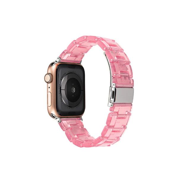 수지 시계 스트랩 애플 시계 밴드 투명 스틸 iwatch 시리즈 (색상: 핑크 / 사이즈: 44mm)_리씽크팀