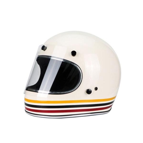VECCHIO 빈티지 제트 오토바이 헬멧 (색상: 화이트 라인 바이저 / 사이즈: M)