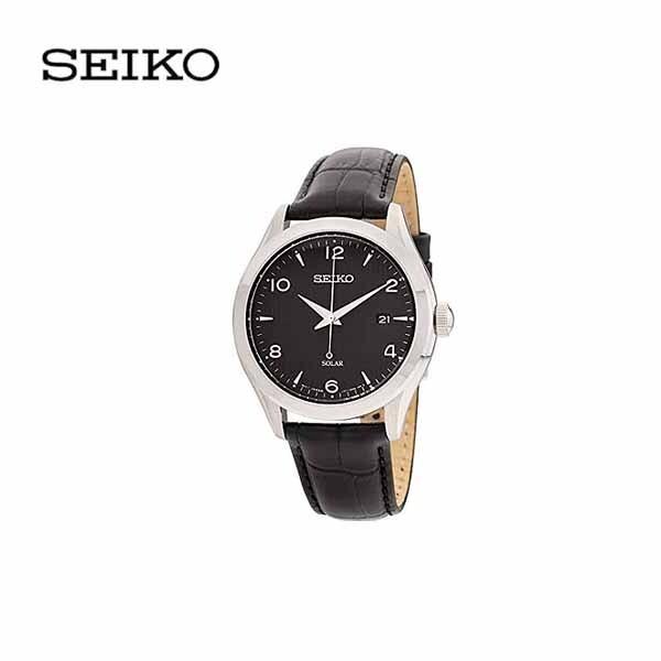 SEIKO 세이코 남성 캐주얼 드레스 가죽 손목시계 SNE495