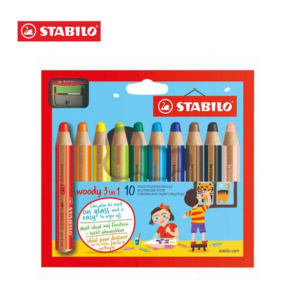 우리아이 첫 번째 색연필! STABILO 스타빌로 우디 색연필 3 in 1 - 10 Color + 샤프너 세트