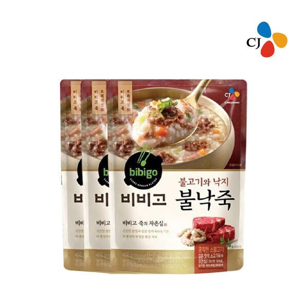 CJ 비비고 불낙죽 파우치 450g x 3개입 (유통기한 : 2021년 9월 15일 까지)