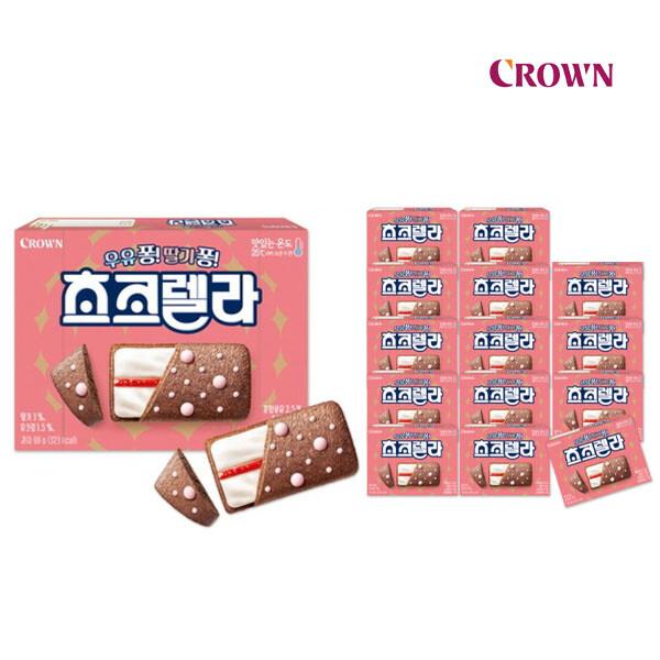 크라운제과의 역작! 달콤한 초코와 상큼한 딸기의 환상궁합 초코렐라 66g x 15갑 (유통기한 : 2021-10-27)