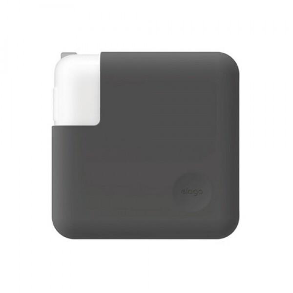 엘라고 맥북/맥북 Pro13 (33cm) 충전어댑터 실리콘 커버 (다크그레이)