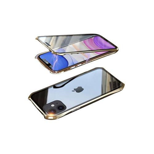 뮤즈캔 아이폰11 마그네틱 풀커버 글라스 케이스 (골드)