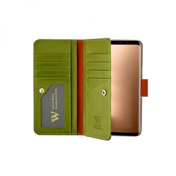 우진인터내셔널 더블유케이스 프리미엄라벨 갤럭시S8플러스 케일카키 양면지갑 핸드폰케이스