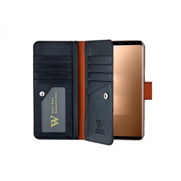 우진인터내셔널 더블유케이스 프리미엄라벨 갤럭시S9 다크네이비 양면지갑 핸드폰케이스